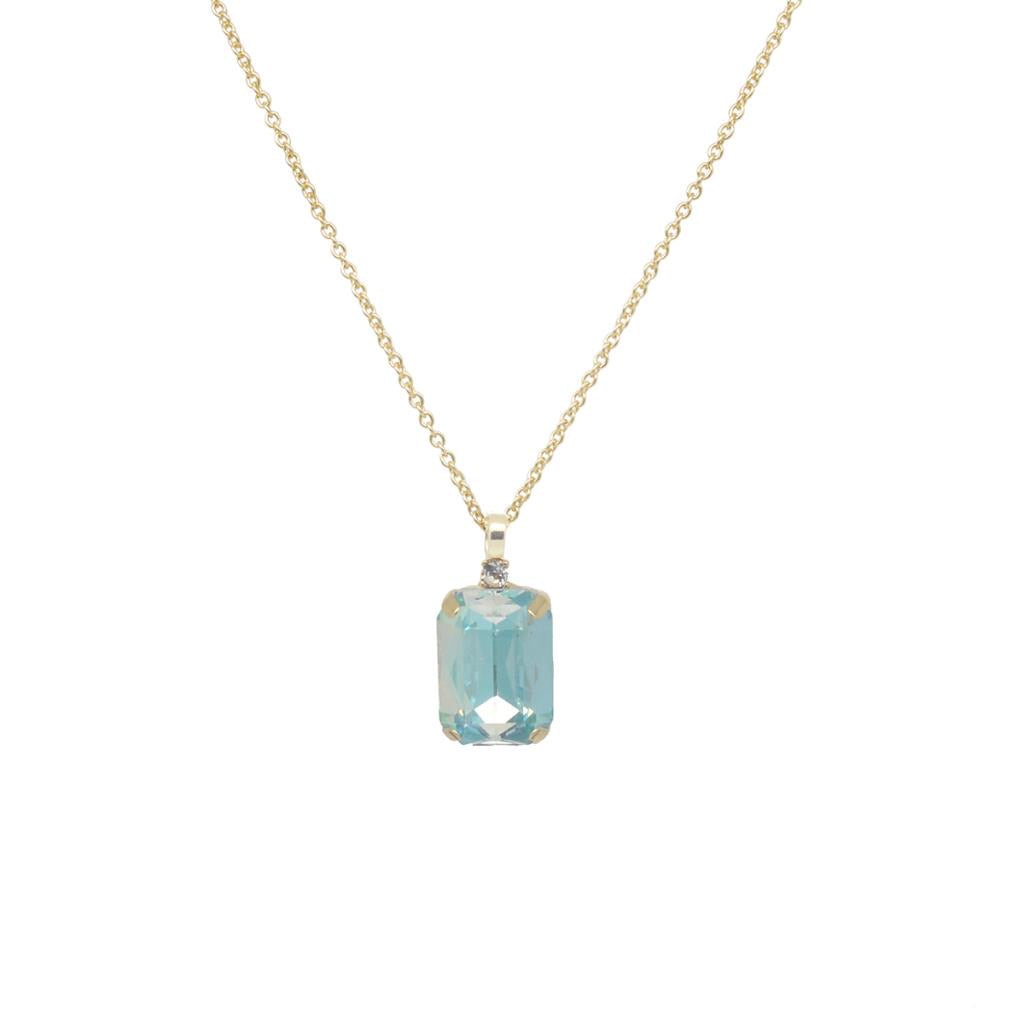 Single gem and tiny Crystal necklace gold with ombré aquamarine