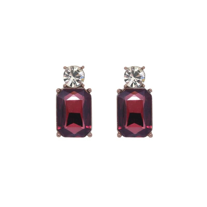 Mini gem earring bronze with burgundy and clear by