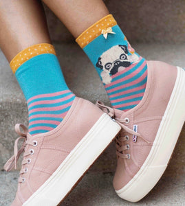 Cocktail pug ankle socks