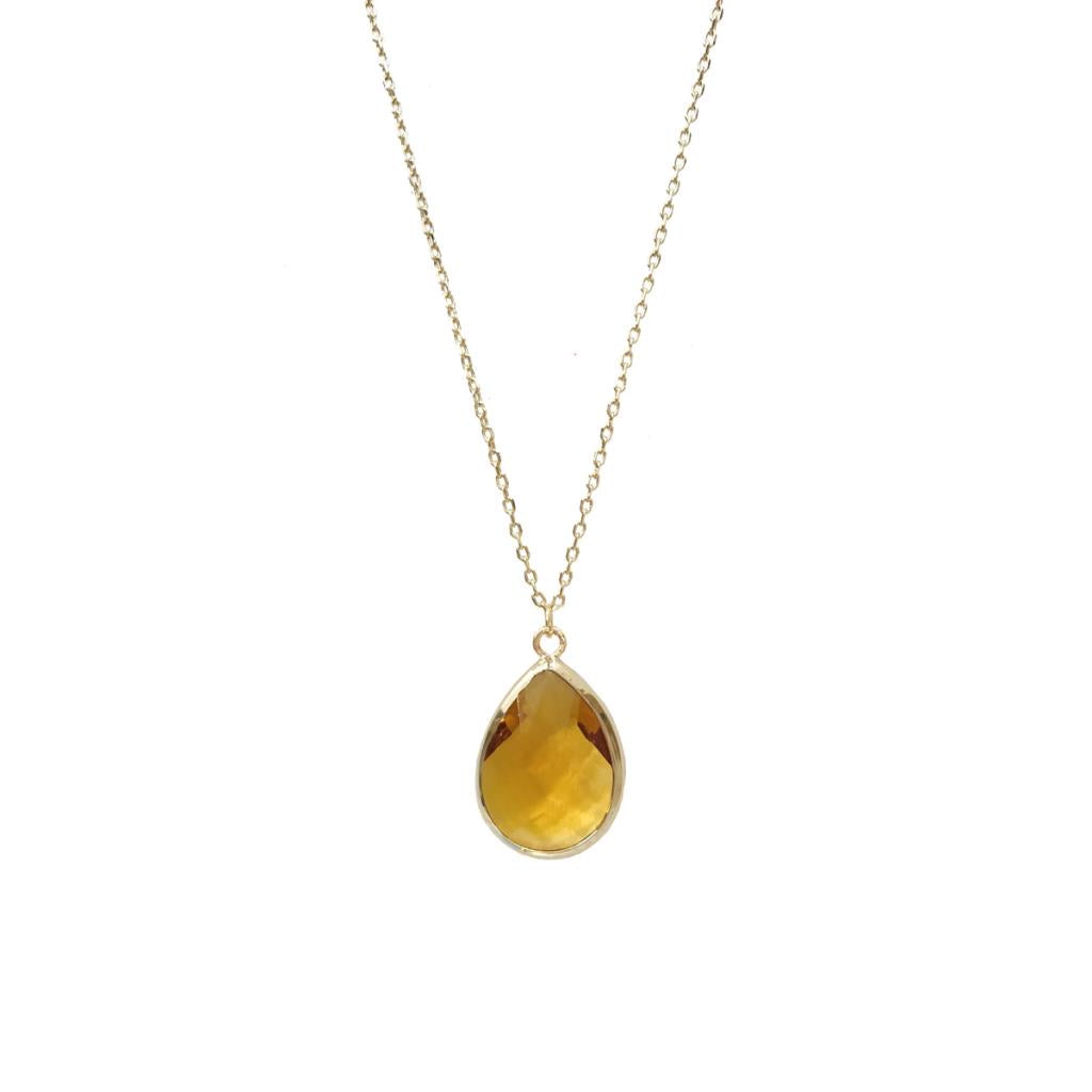 Faceted teardrop gem necklace in yellow