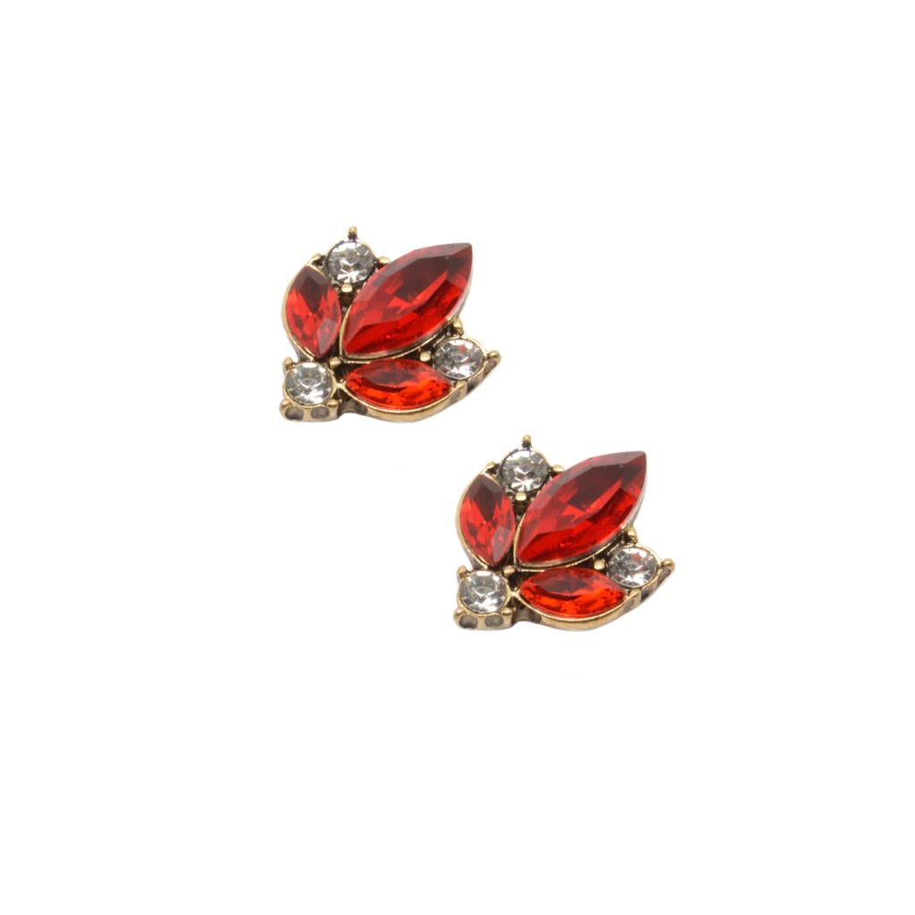 Crystal cluster earring red with clear gold