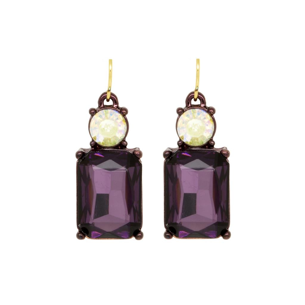 Simple gem earring deep purple with ab Crystal