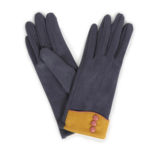 Cassie Faux Suede Gloves- Charcoal