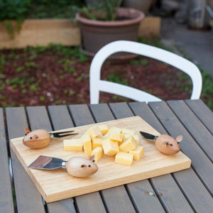 Set of 3 Mice Cheese Knives with Board