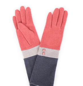 Coral/Slate/Charcoal Vivienne Wool Gloves