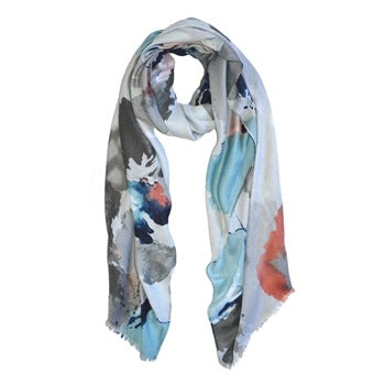 Abstract Paint Print Scarf in Grey with Blue and Pink