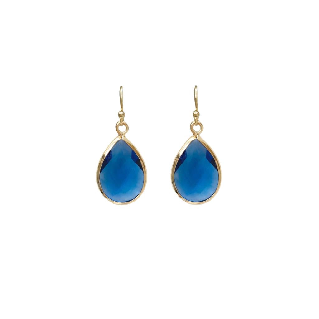 Faceted teardrop gem earring blue