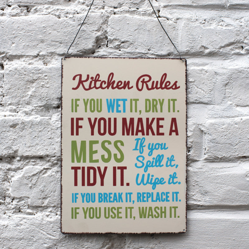 KITCHEN RULES METAL SIGN - Wild Atlantic Living