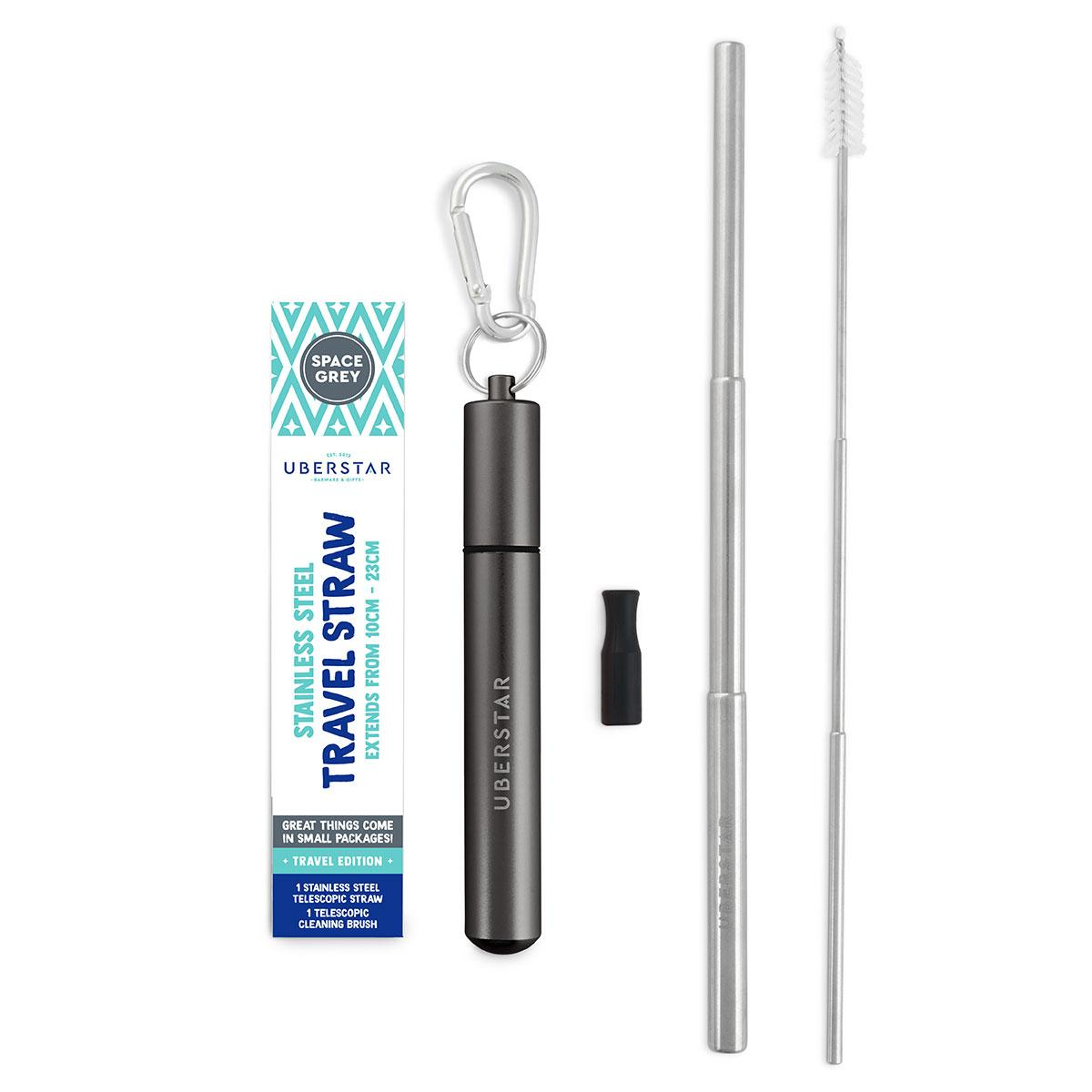 Space grey Stainless steel travel straw - Wild Atlantic Living