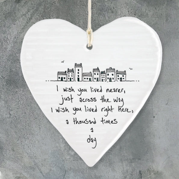 I wish you lived nearer...  Porcelain Round Heart - Wild Atlantic Living