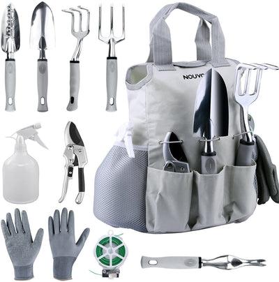 NOUVCOO Upgraded Garden Set 10 Pieces Stainless Steel Hand Tool Kit,Durable, Shovel,Fork,Rake,Shears,Weeder,Gloves, Storage Tote Bag,Pruner, Water Sprayer,Plant Ties NC24