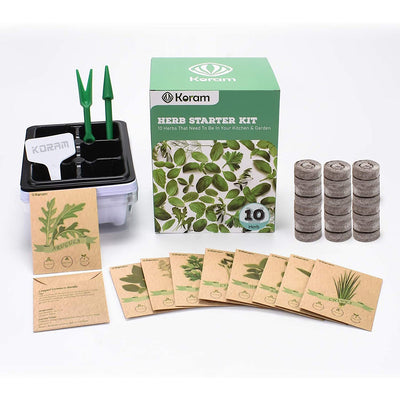KORAM Herb Garden Kit Growing Kit Gardening Starter Set- 10 Herbs Grow from Organic Seeds Indoor Herb Kit with Everything a Gardener Needs for Growing Herbs Indoors, Kitchen, Balcony Christmas Gift