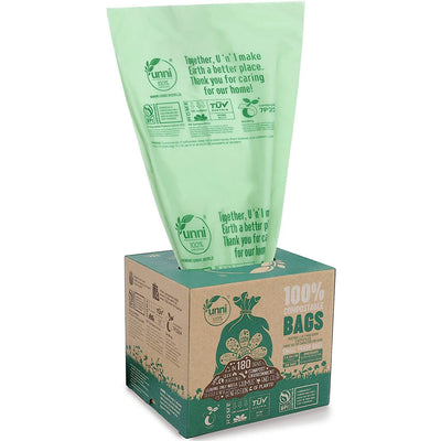 100% Compostable Trash Bags - 2.6 Gallon - 100 Count - Waste Not Dots