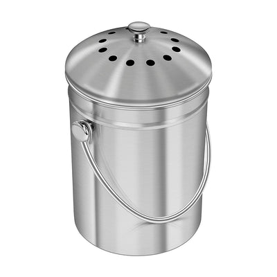Utopia Kitchen Stainless Steel Countertop Compost Bin - 1.3 Gallon - Waste Not Dots