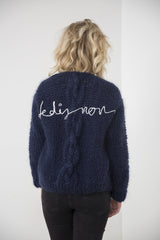 Handmade cardigan with chunky cable // classic navy blue