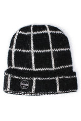 checked beanie black