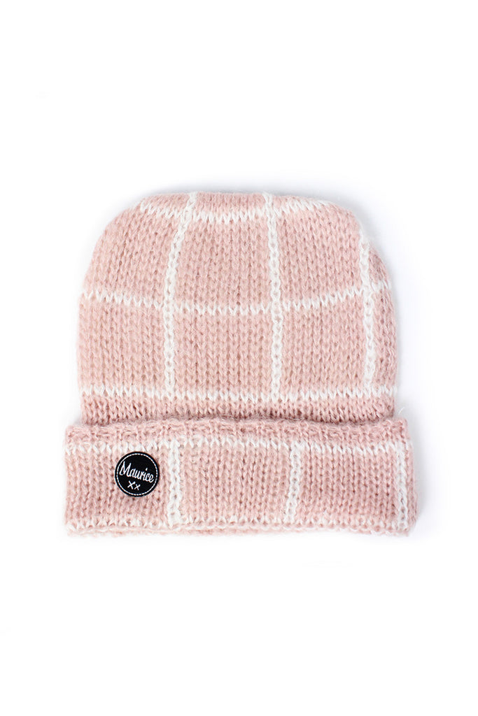 checked beanie pink
