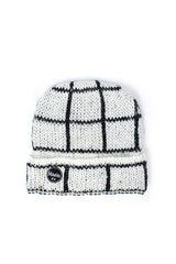 checked beanie white