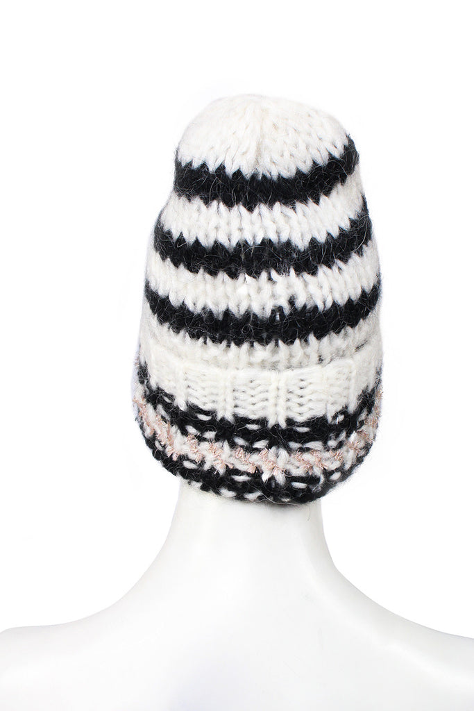 striped black and white beanie