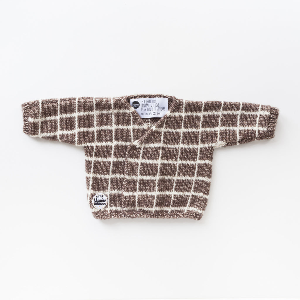Little Maurice V-neck pull-over chocolate brown & white checkerdboard