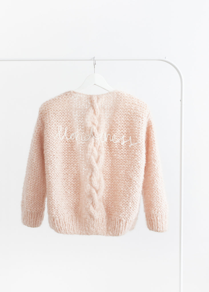 Handmade cardigan with chunky cable // soft rose