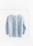 Handmade cardigan with chunky cable // Ice blue
