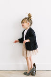 Petite handmade cardigan with chunky cable // Dark black