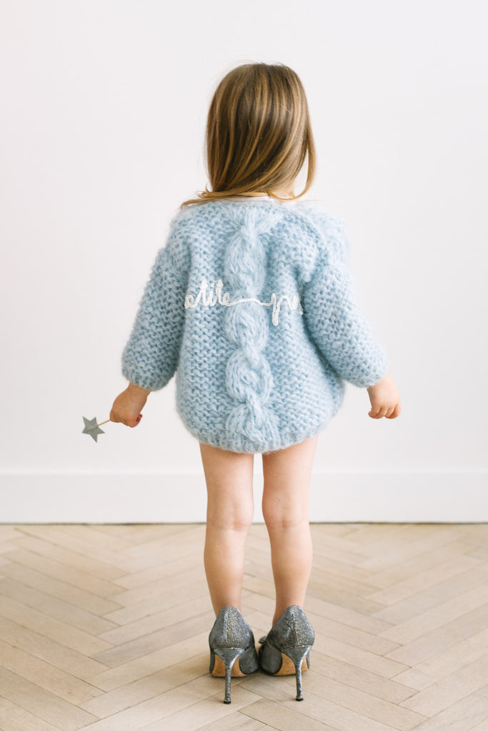 Petite handmade cardigan with chunky cable // Ice blue
