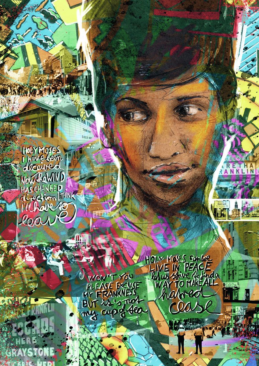 """Not My Cup Of Tea"" - A Portrait Of Aretha Franklin. - Fine art print by Jasha Bay"