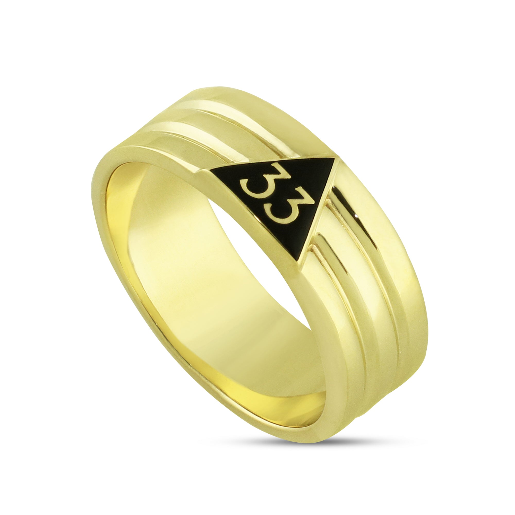33rd Degree Ring w/black enamel