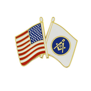 Double Flag - American & Blue Lodge Emblem
