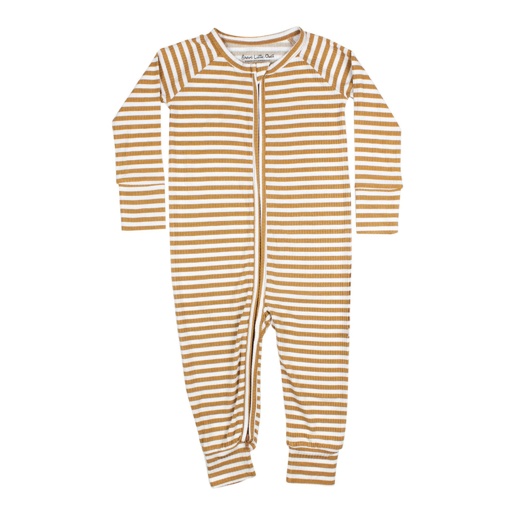 Stripe Ribbed Zip Romper