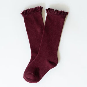 Wine Lace Top Knee Highs