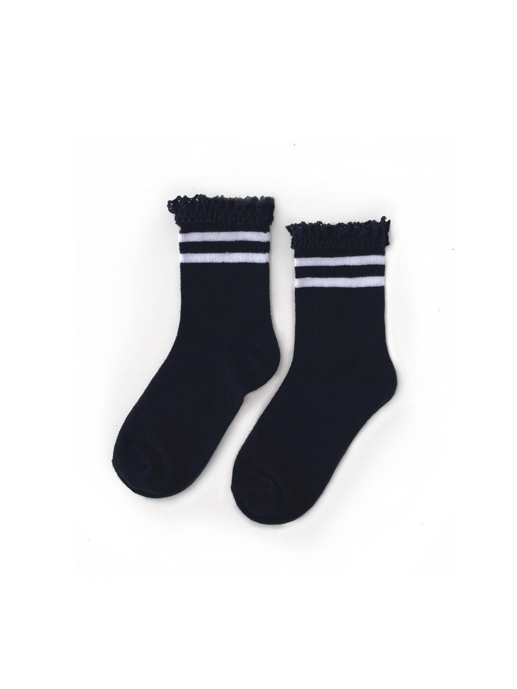 Black with White Stripes Lace Midi Socks
