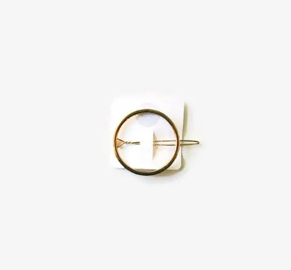 Gold Open Circle- Adult Hair Barrette