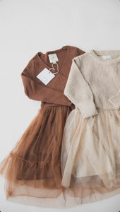 Tutu Sweater Dress- Beige