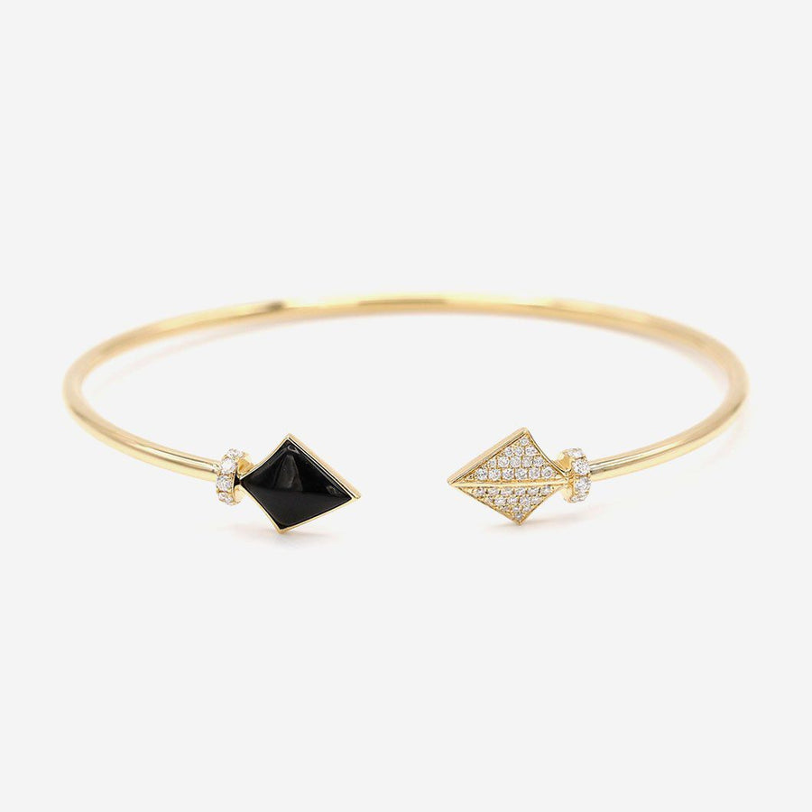 Amira Karaouli Onyx & Diamond Warrior Bangle-Bangle-Amira Karaouli-Emila-1