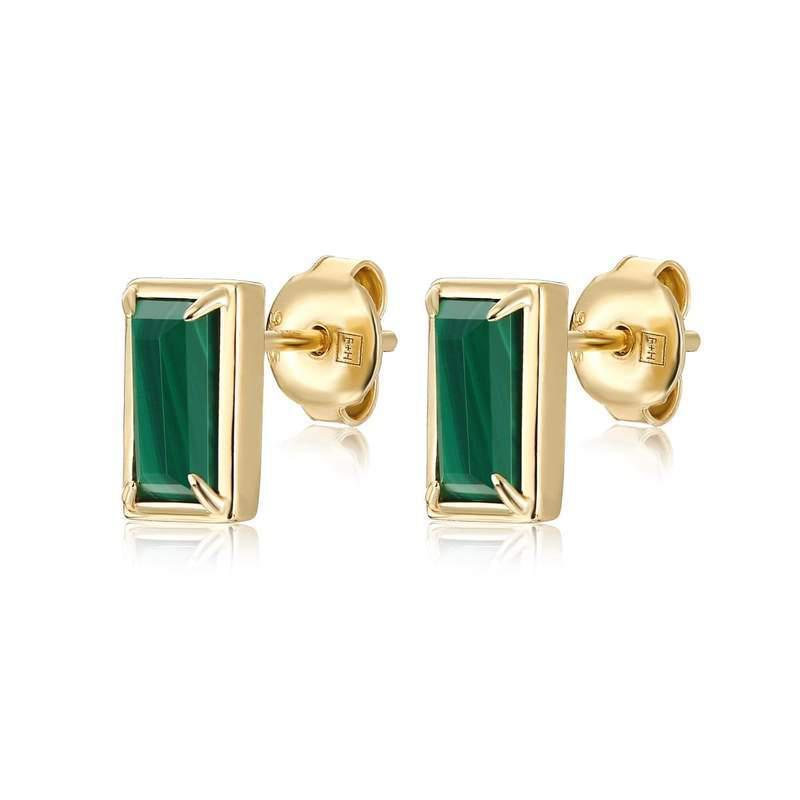 F+H Jewelry Diana Gemstone Studs-Earrings-F+H Jewelry-Malachite-Emila-1