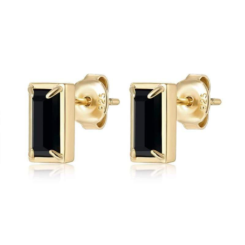 F+H Jewelry Diana Gemstone Studs-Earrings-F+H Jewelry-Onyx-Emila-7