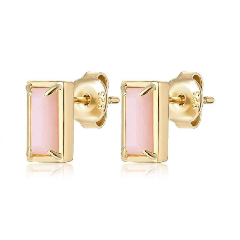 F+H Jewelry Diana Gemstone Studs-Earrings-F+H Jewelry-Pink Opal-Emila-2