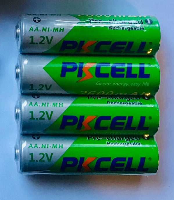 PK Cell, (4) pack of 2600 ma NiMH rechargeable batteries