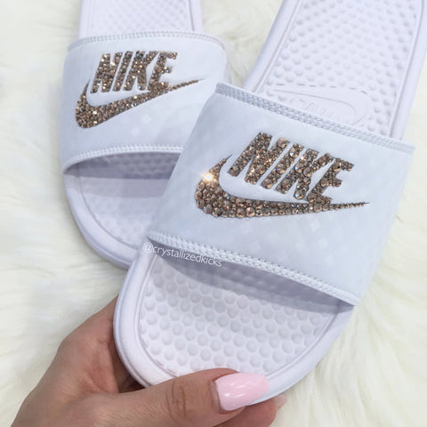 Crystallized Kicks Nike Benassi Slides women Made with Swarovski Crystals
