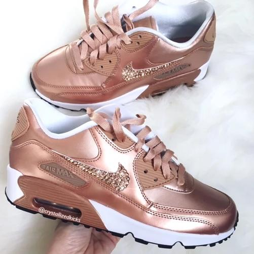 Swarovski Nike Air Max 90 Rose Gold Youth Women Made with Swarovski Crystals