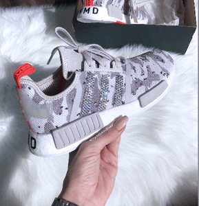 Swarovski Bling Adidas NMD R1 Womens Camo print Made with Swarovski Crystals