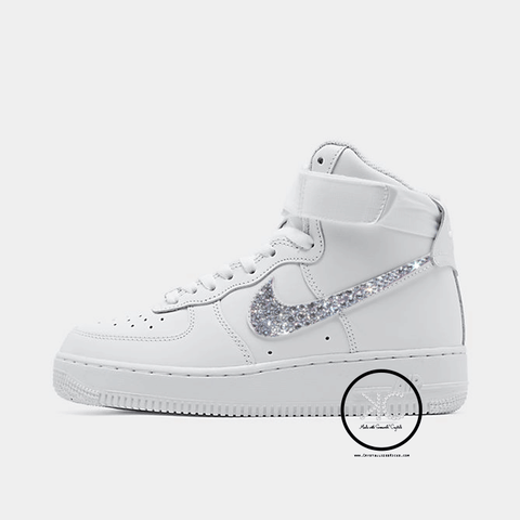 Swarovski Nike Air Force 1 Hi Top Womens White Made with Swarovksi Crystals