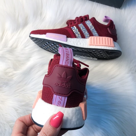 Swarovski Adidas Womens Kids NMD Customized With Swarovski Crystals Bling