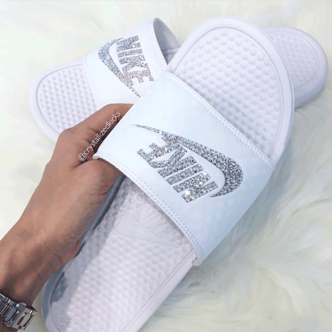 Swarovski Nike Benassi Slides White Made with Swarovski Crystals.