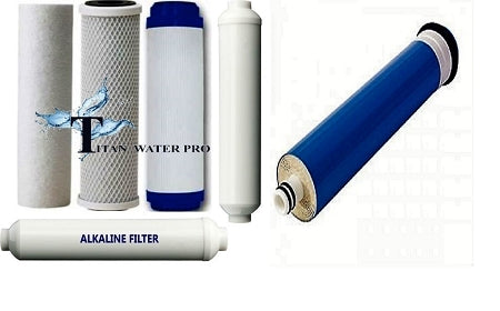 6 pc RO Water Filter/Membrane Replacement Set includes Post Alkaline Stage - 50GPD Membrane