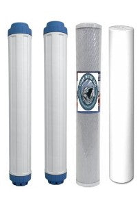 "4 PC Replacement Water Filters - 1 Sediment,1 Carbon Block, 2 DI Filters 20"" x 2.5"""