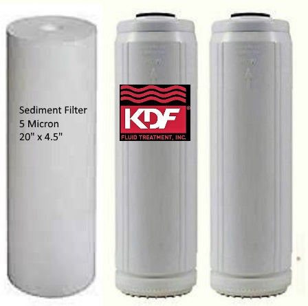 "3 PC Big Blue Replacement Filter Set - Sediment/KDF55-85 GAC Carbon/BoneChar-Catalytic Carbon 20"" x 4.5"""